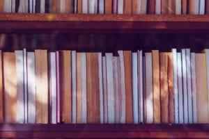 Libary books on the shelf