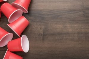 Red Plastic Cups On Table