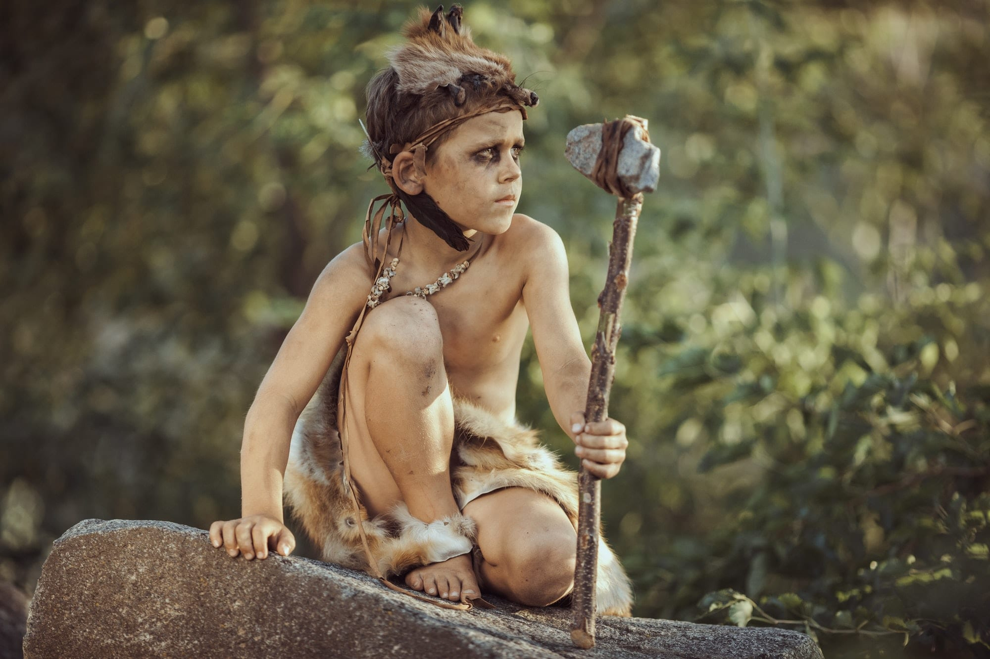 Caveman, Manly Boy With Primitive Weapon Hunting Outdoors