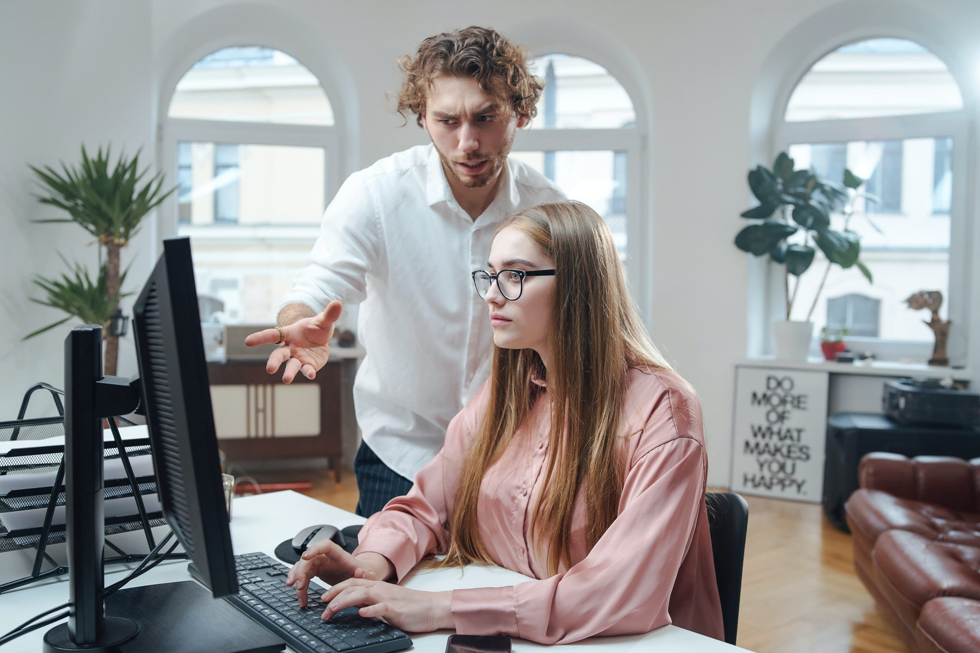 Cooperation of a office workers which use computer in office
