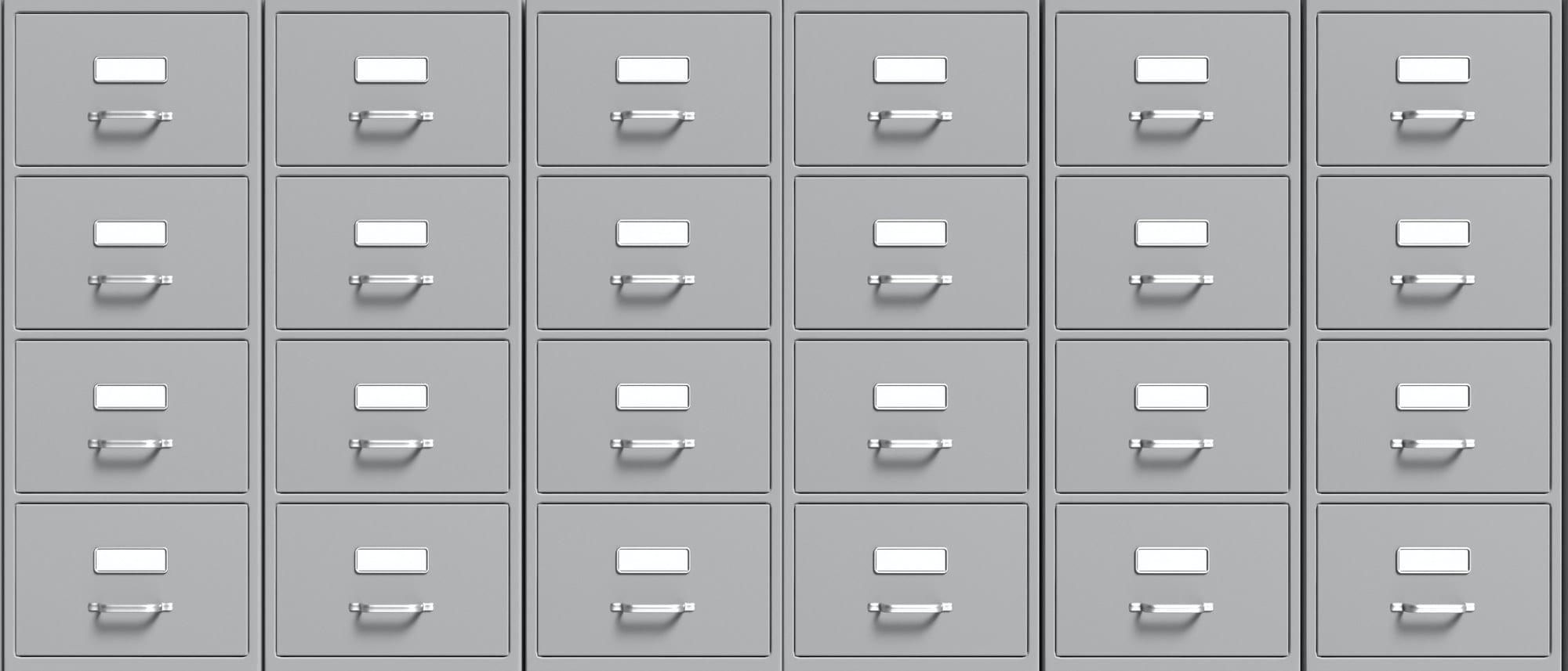 Filing cabinets background. Office document file organisation. 3d illustration